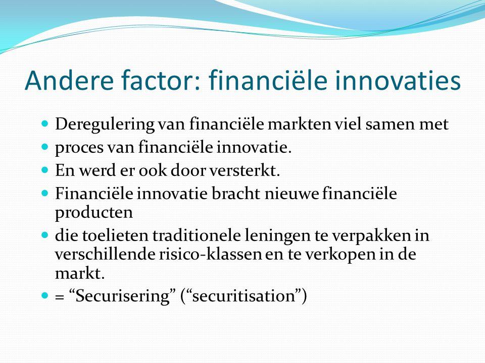 Andere factor: financiële innovaties  Deregulering van financiële markten viel samen met  proces van financiële innovatie.