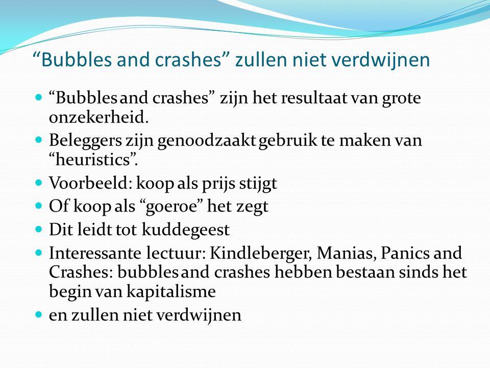 Bubbles and crashes zullen niet verdwijnen  Bubbles and crashes zijn het resultaat van grote onzekerheid.