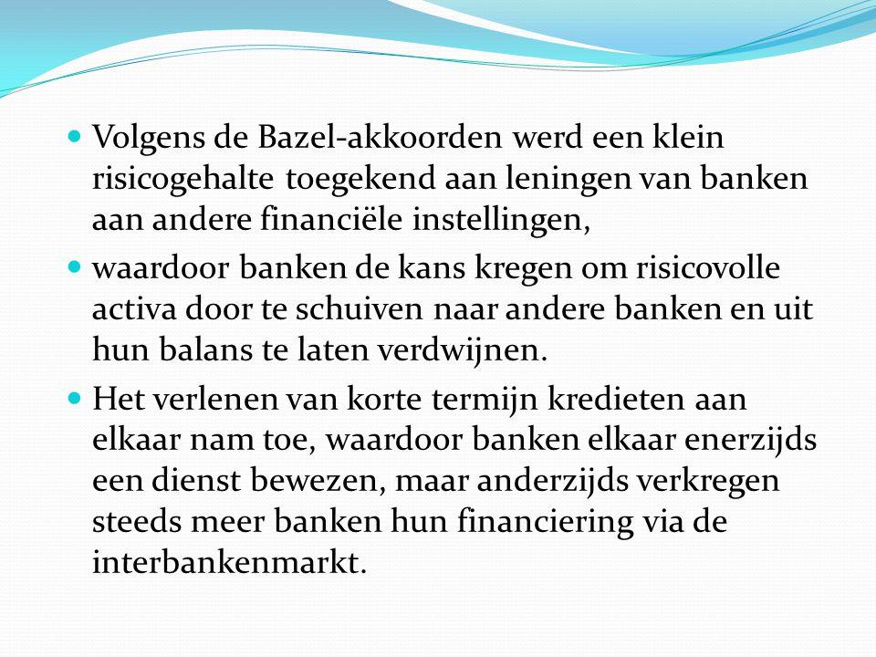  Volgens de Bazel-akkoorden werd een klein risicogehalte toegekend aan leningen van banken aan andere financiële instellingen,  waardoor banken de kans kregen om risicovolle activa door te schuiven naar andere banken en uit hun balans te laten verdwijnen.