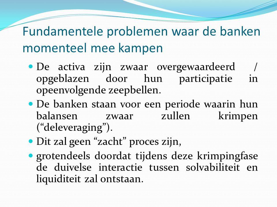Fundamentele problemen waar de banken momenteel mee kampen  De activa zijn zwaar overgewaardeerd / opgeblazen door hun participatie in opeenvolgende zeepbellen.