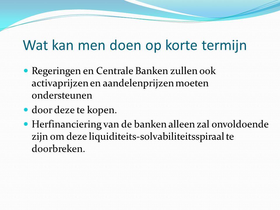 Wat kan men doen op korte termijn  Regeringen en Centrale Banken zullen ook activaprijzen en aandelenprijzen moeten ondersteunen  door deze te kopen.