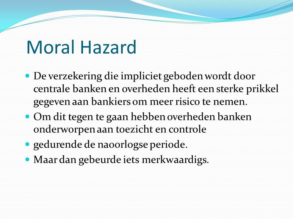 Moral Hazard  De verzekering die impliciet geboden wordt door centrale banken en overheden heeft een sterke prikkel gegeven aan bankiers om meer risico te nemen.