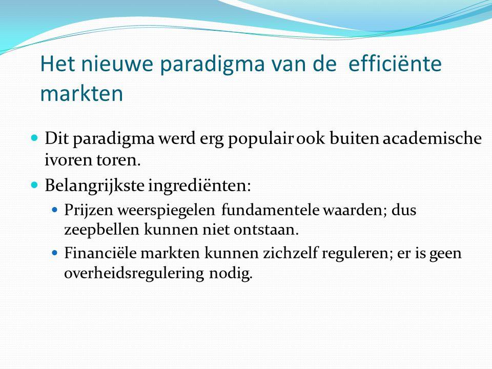 Het nieuwe paradigma van de efficiënte markten  Dit paradigma werd erg populair ook buiten academische ivoren toren.