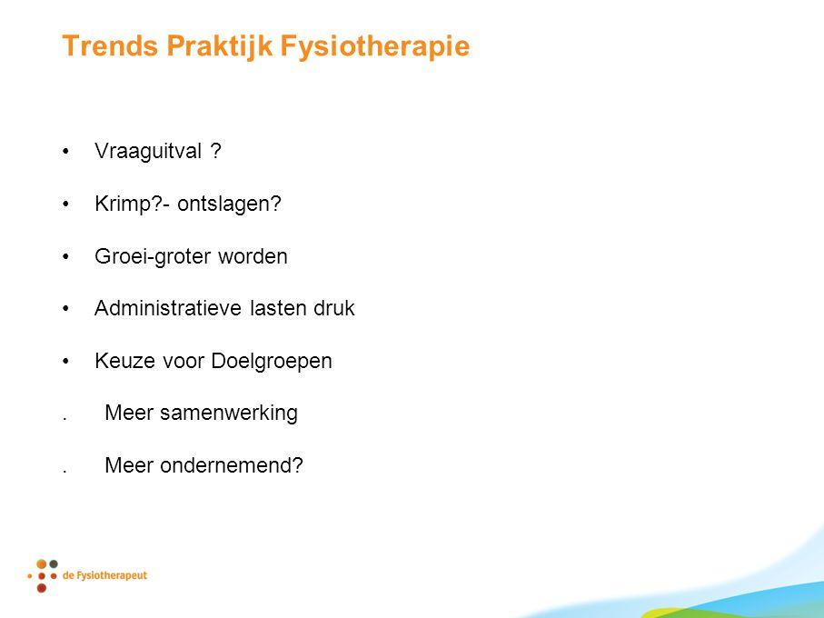 Trends Praktijk Fysiotherapie •Vraaguitval . •Krimp - ontslagen.