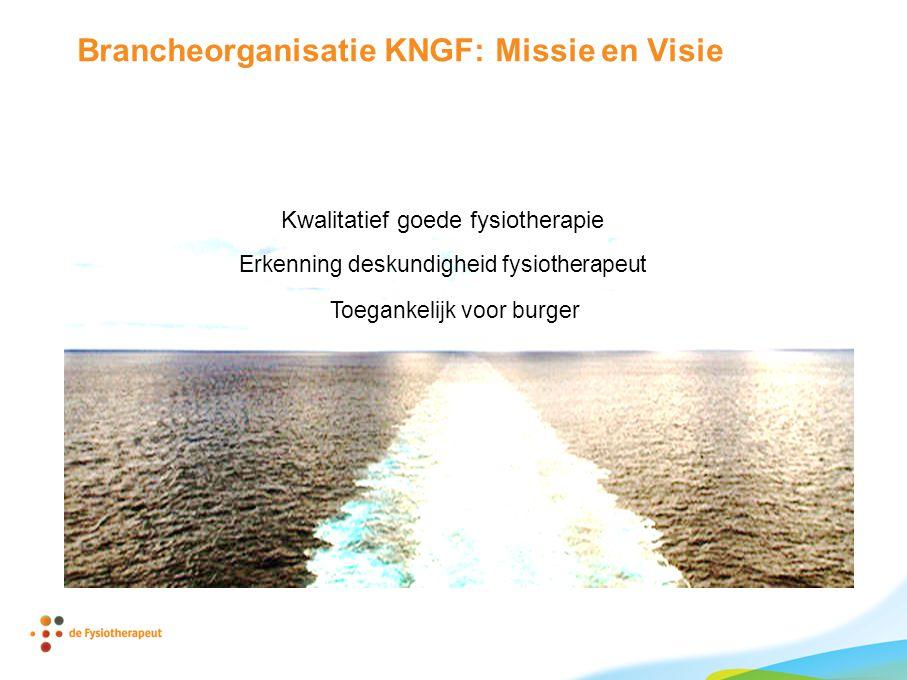 Brancheorganisatie KNGF: Missie en Visie Kwalitatief goede fysiotherapie Toegankelijk voor burger Erkenning deskundigheid fysiotherapeut