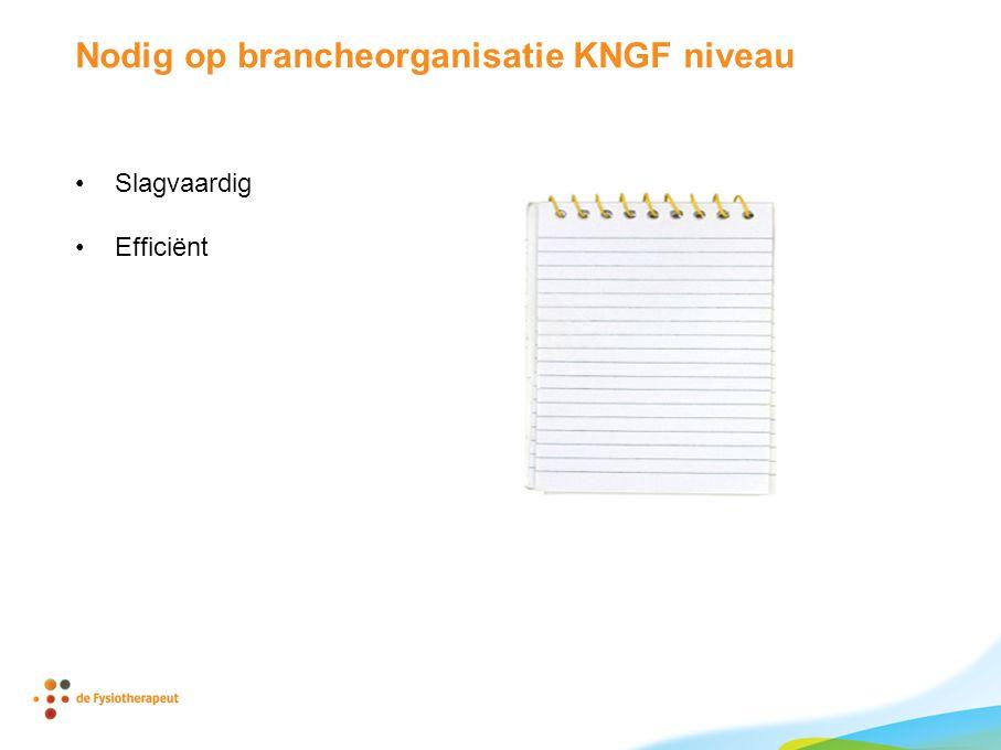 Nodig op brancheorganisatie KNGF niveau •Slagvaardig •Efficiënt
