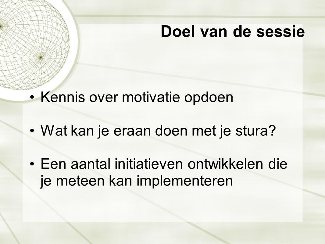 Doel van de sessie •Kennis over motivatie opdoen •Wat kan je eraan doen met je stura? •Een aantal initiatieven ontwikkelen die je meteen kan implement