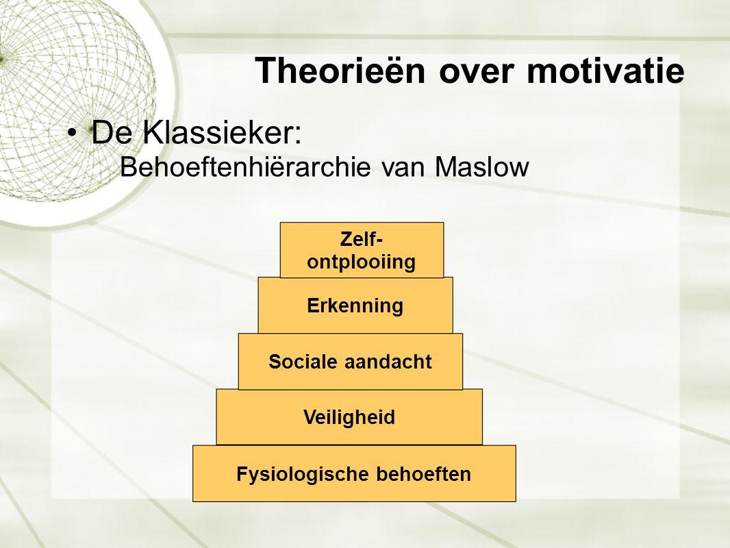 Theorieën over motivatie •De Klassieker: Behoeftenhiërarchie van Maslow Fysiologische behoeften Veiligheid Sociale aandacht Erkenning Zelf- ontplooiin