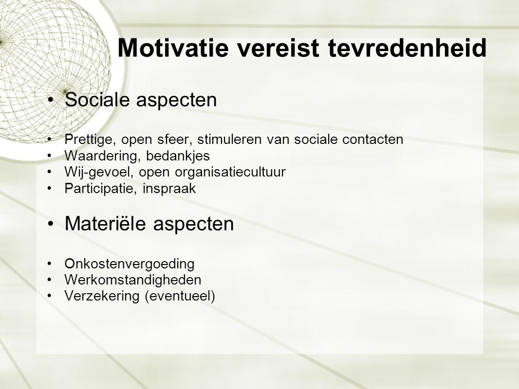 Motivatie vereist tevredenheid •Sociale aspecten •Prettige, open sfeer, stimuleren van sociale contacten •Waardering, bedankjes •Wij-gevoel, open orga