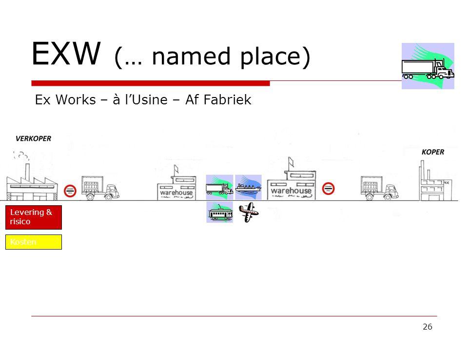 EXW (… named place) 26 Ex Works – à l'Usine – Af Fabriek Levering & risico Kosten