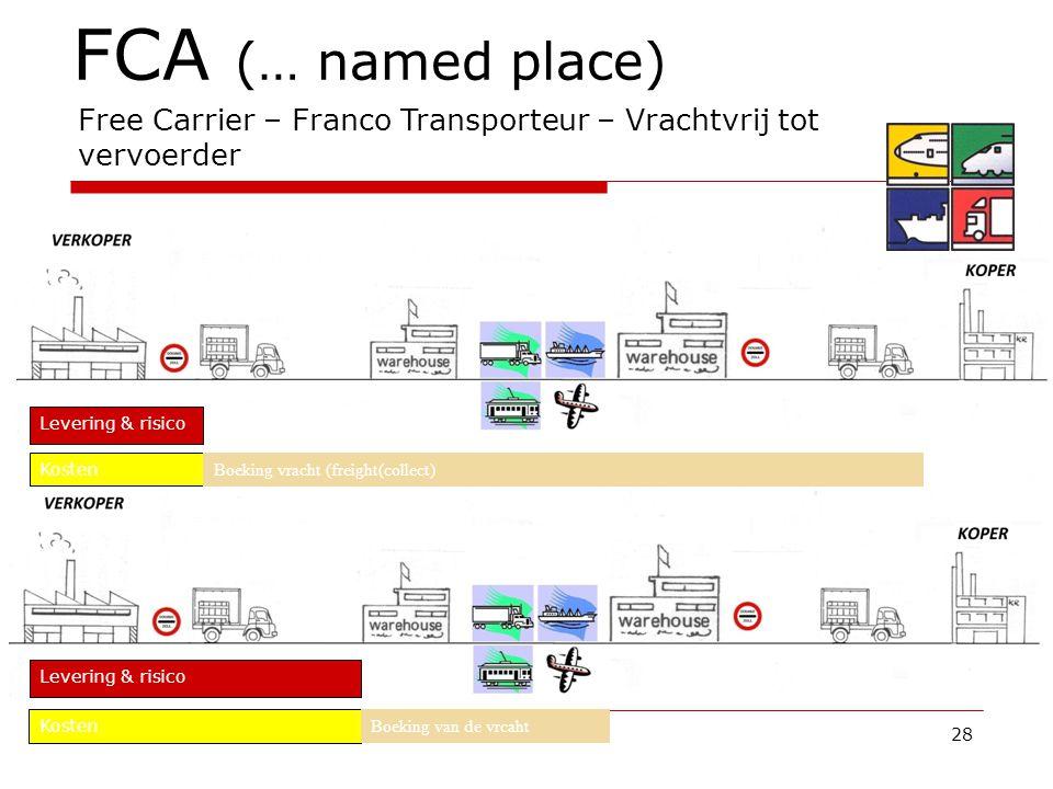 28 FCA (… named place) Free Carrier – Franco Transporteur – Vrachtvrij tot vervoerder Kosten Boeking vracht (freight(collect) Levering & risico Kosten Boeking van de vrcaht