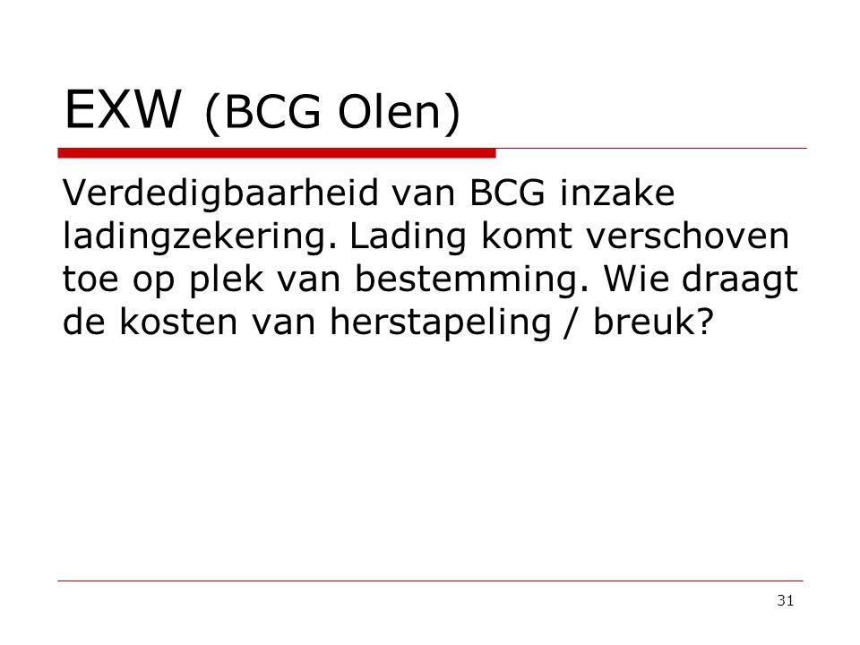 EXW (BCG Olen) Verdedigbaarheid van BCG inzake ladingzekering.