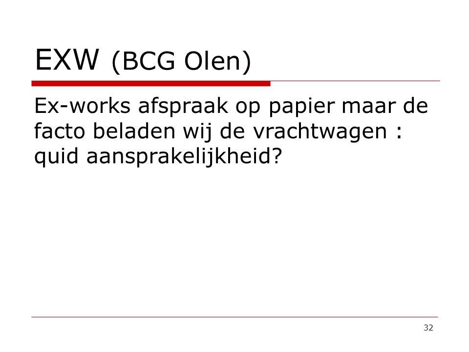 EXW (BCG Olen) Ex-works afspraak op papier maar de facto beladen wij de vrachtwagen : quid aansprakelijkheid.