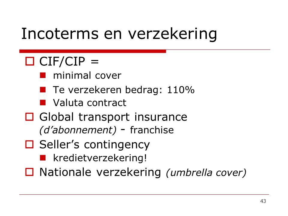 43 Incoterms en verzekering  CIF/CIP =  minimal cover  Te verzekeren bedrag: 110%  Valuta contract  Global transport insurance (d'abonnement) - franchise  Seller's contingency  kredietverzekering.