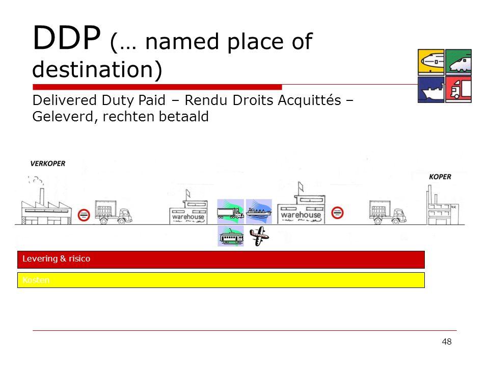 48 DDP (… named place of destination) Delivered Duty Paid – Rendu Droits Acquittés – Geleverd, rechten betaald Levering & risico Kosten