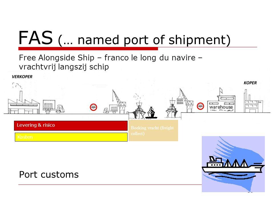 FAS (… named port of shipment) Port customs 50 Free Alongside Ship – franco le long du navire – vrachtvrij langszij schip Levering & risico Kosten Boeking vracht (freight collect)