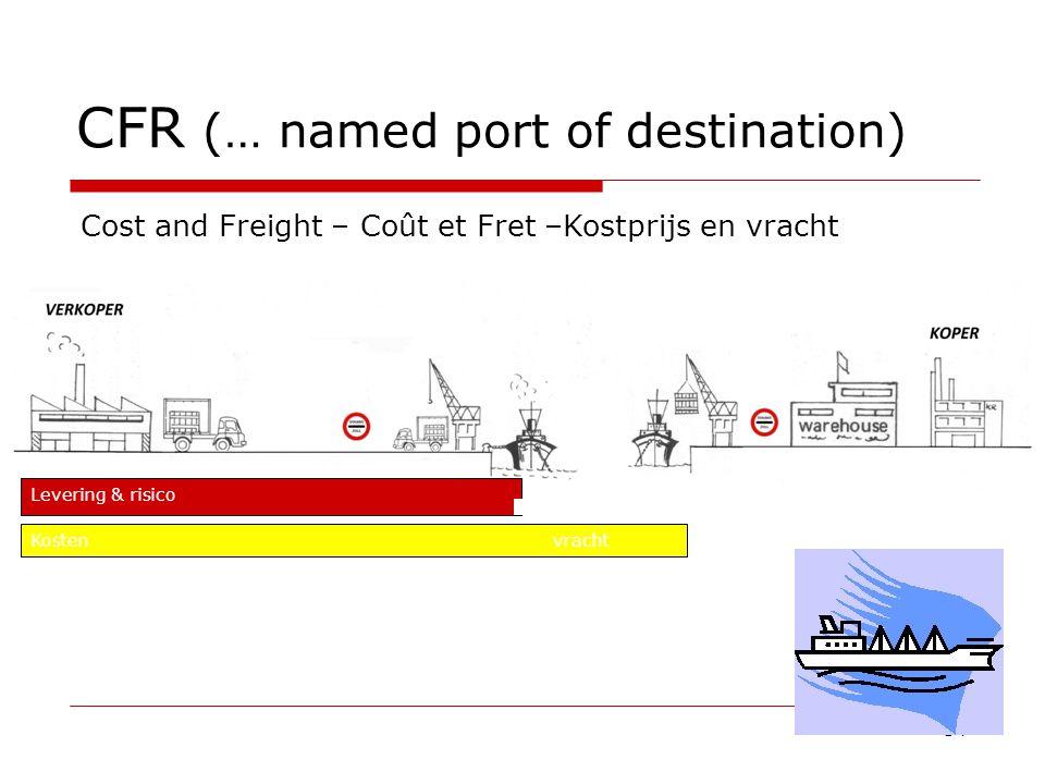 CFR (… named port of destination) 54 Cost and Freight – Coût et Fret –Kostprijs en vracht Levering & risico Kosten vracht
