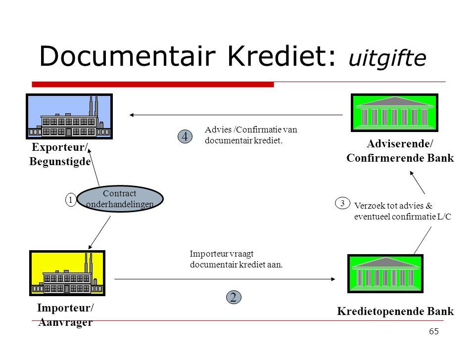 65 Documentair Krediet: uitgifte 1 Importeur vraagt documentair krediet aan.