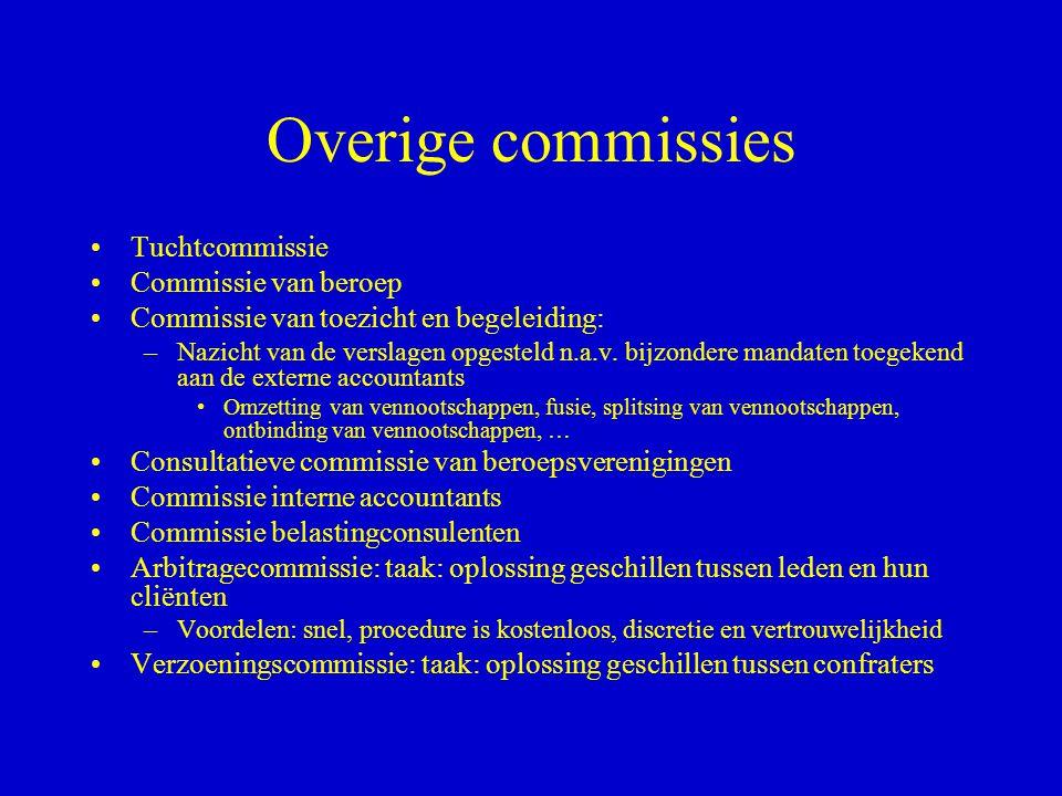 Overige commissies •Tuchtcommissie •Commissie van beroep •Commissie van toezicht en begeleiding: –Nazicht van de verslagen opgesteld n.a.v. bijzondere