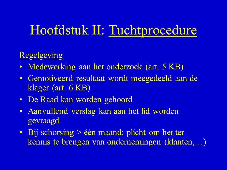 Hoofdstuk II: Tuchtprocedure Regelgeving •Medewerking aan het onderzoek (art. 5 KB) •Gemotiveerd resultaat wordt meegedeeld aan de klager (art. 6 KB)