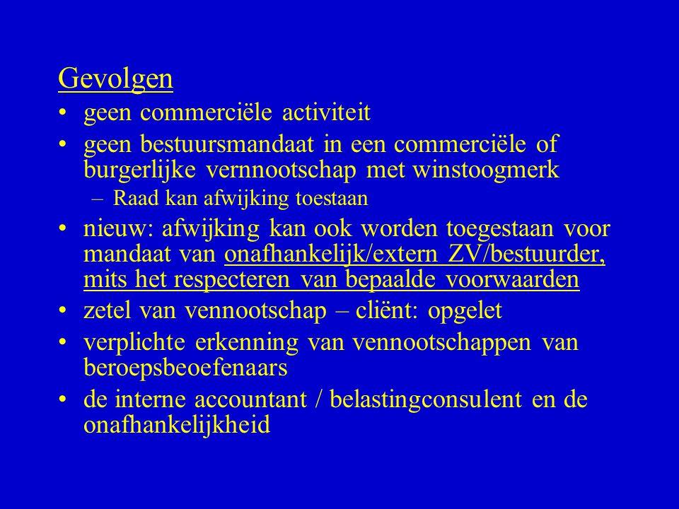 Gevolgen •geen commerciële activiteit •geen bestuursmandaat in een commerciële of burgerlijke vernnootschap met winstoogmerk –Raad kan afwijking toest