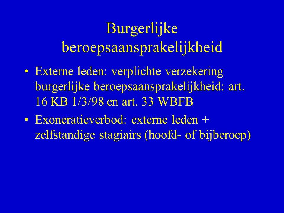 Burgerlijke beroepsaansprakelijkheid •Externe leden: verplichte verzekering burgerlijke beroepsaansprakelijkheid: art. 16 KB 1/3/98 en art. 33 WBFB •E