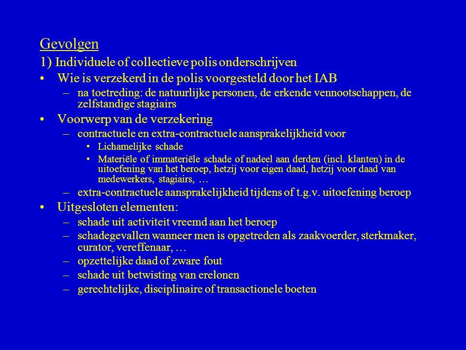 Gevolgen 1) Individuele of collectieve polis onderschrijven •Wie is verzekerd in de polis voorgesteld door het IAB –na toetreding: de natuurlijke pers