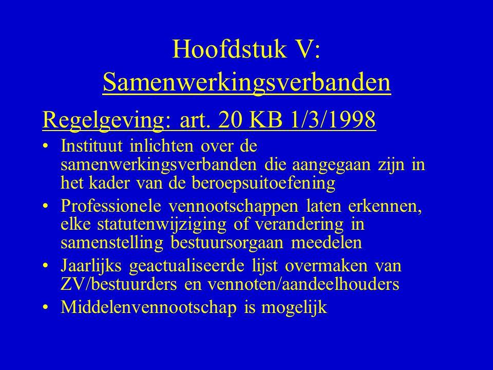Hoofdstuk V: Samenwerkingsverbanden Regelgeving: art. 20 KB 1/3/1998 •Instituut inlichten over de samenwerkingsverbanden die aangegaan zijn in het kad