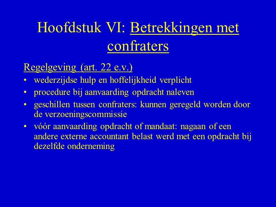Hoofdstuk VI: Betrekkingen met confraters Regelgeving (art. 22 e.v.) •wederzijdse hulp en hoffelijkheid verplicht •procedure bij aanvaarding opdracht