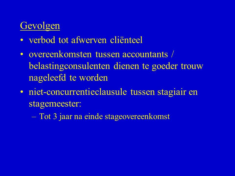 Gevolgen •verbod tot afwerven cliënteel •overeenkomsten tussen accountants / belastingconsulenten dienen te goeder trouw nageleefd te worden •niet-con