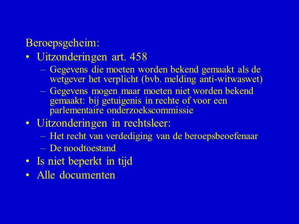 Beroepsgeheim: •Uitzonderingen art. 458 –Gegevens die moeten worden bekend gemaakt als de wetgever het verplicht (bvb. melding anti-witwaswet) –Gegeve