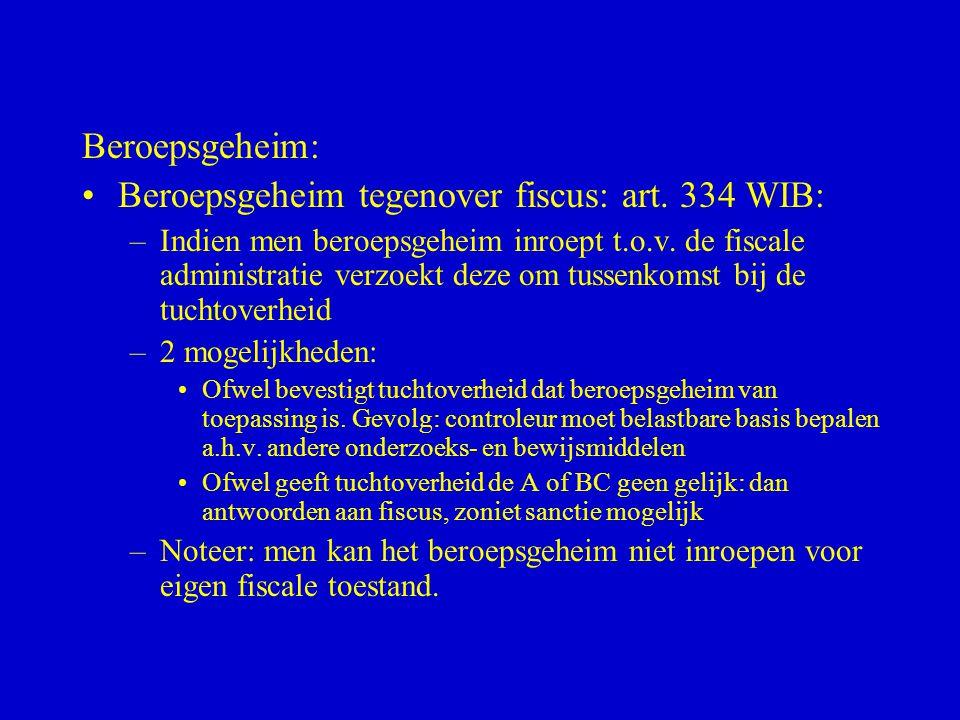 Beroepsgeheim: •Beroepsgeheim tegenover fiscus: art. 334 WIB: –Indien men beroepsgeheim inroept t.o.v. de fiscale administratie verzoekt deze om tusse
