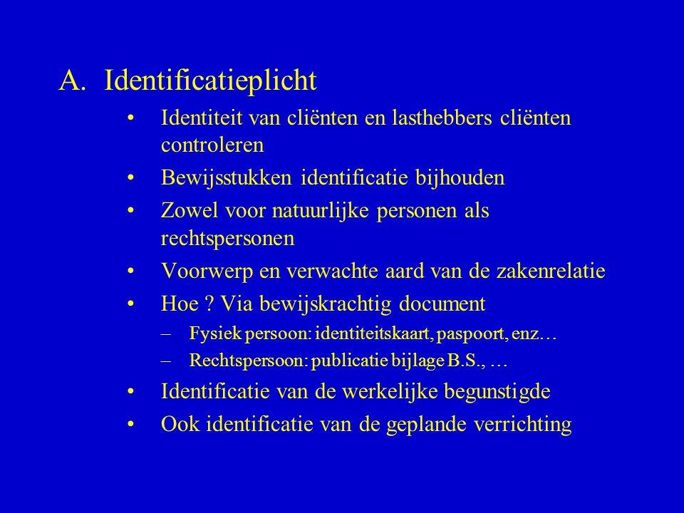 A.Identificatieplicht •Identiteit van cliënten en lasthebbers cliënten controleren •Bewijsstukken identificatie bijhouden •Zowel voor natuurlijke pers