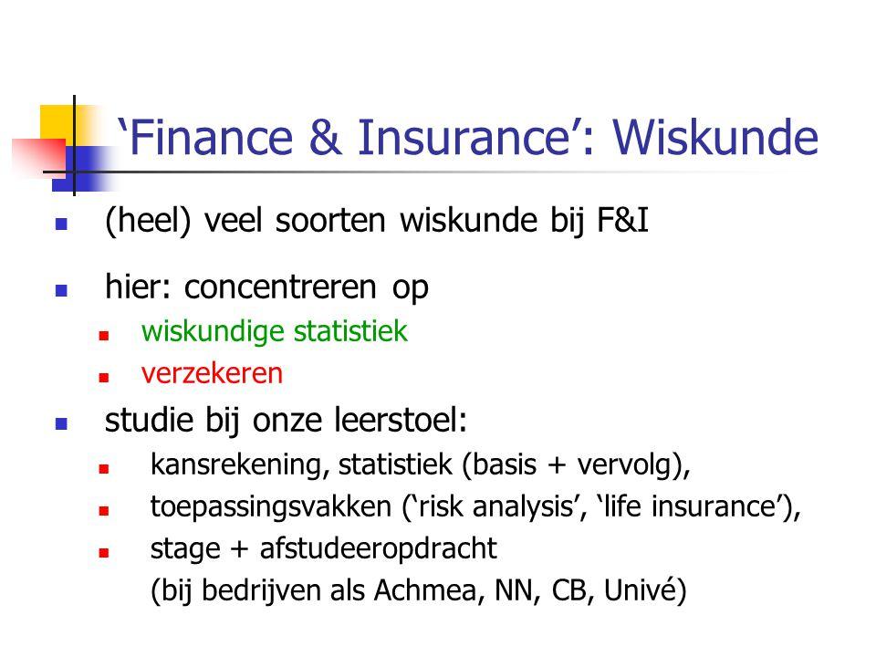 'Finance & Insurance': Wiskunde  (heel) veel soorten wiskunde bij F&I  hier: concentreren op  wiskundige statistiek  verzekeren  studie bij onze leerstoel:  kansrekening, statistiek (basis + vervolg),  toepassingsvakken ('risk analysis', 'life insurance'),  stage + afstudeeropdracht (bij bedrijven als Achmea, NN, CB, Univé)