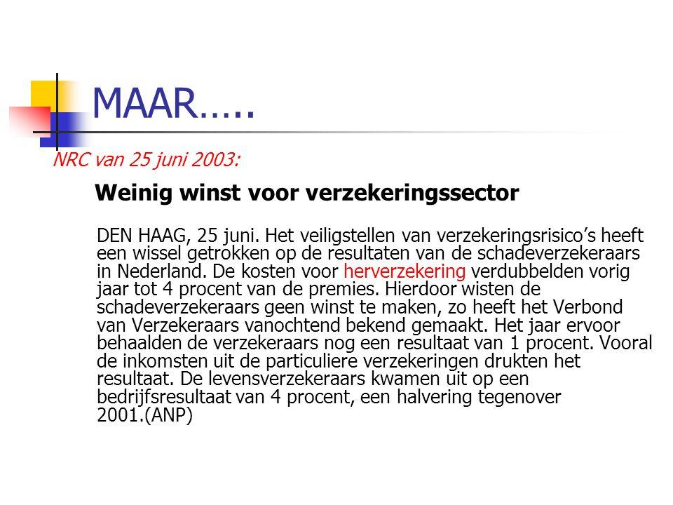 MAAR…..NRC van 25 juni 2003: Weinig winst voor verzekeringssector DEN HAAG, 25 juni.