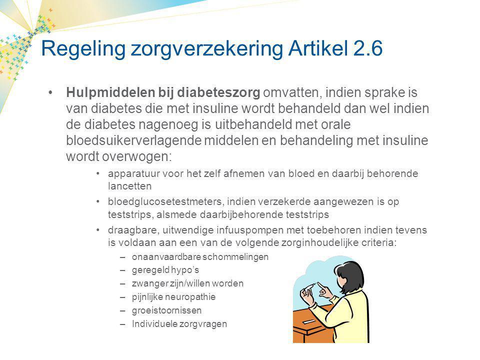 Vergoeding insulinepomptherapie •Zorgverzekeringswet •Uit verschillende potjes Hulpmiddelen Medisch-specialistische zorg Geneesmiddelen Huisartsenzorg ……..