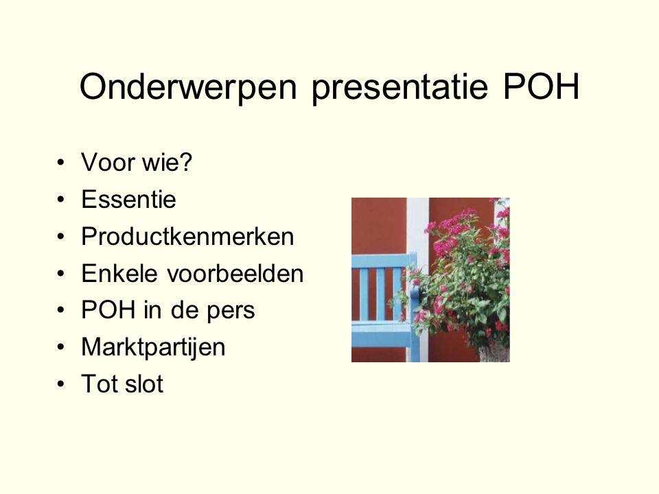 Voorbeeld van Bob (70) en Anneke (67) •Executiewaarde woning: € 276.250 •Huidige hypotheek: € 116.000 •Rente huidige hypotheek: 5,5% •Maandelijkse last is dus: € 531 •Gewenste POH: € 265.000