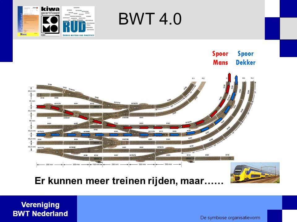 Vereniging BWT Nederland BWT 4.0 Spoor Mans Spoor Dekker De symbiose organisatievorm Er kunnen meer treinen rijden, maar……