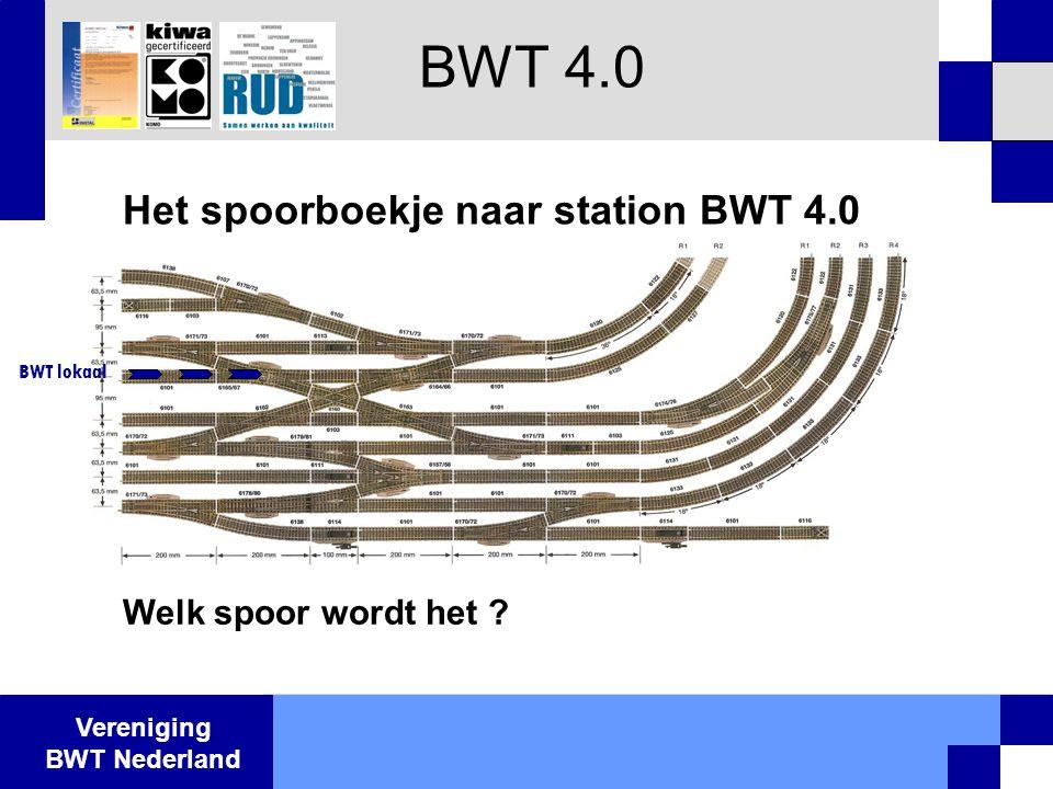 Vereniging BWT Nederland BWT 4.0 Het spoorboekje naar station BWT 4.0 Welk spoor wordt het ? BWT lokaal