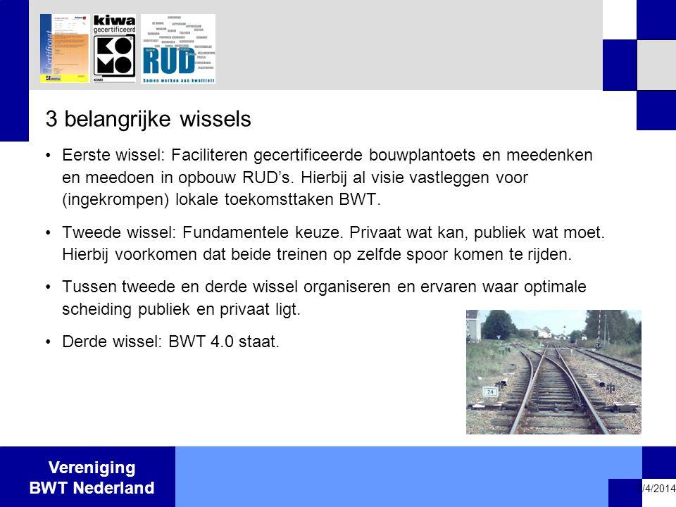 Vereniging BWT Nederland 7/4/2014 3 belangrijke wissels •Eerste wissel: Faciliteren gecertificeerde bouwplantoets en meedenken en meedoen in opbouw RU