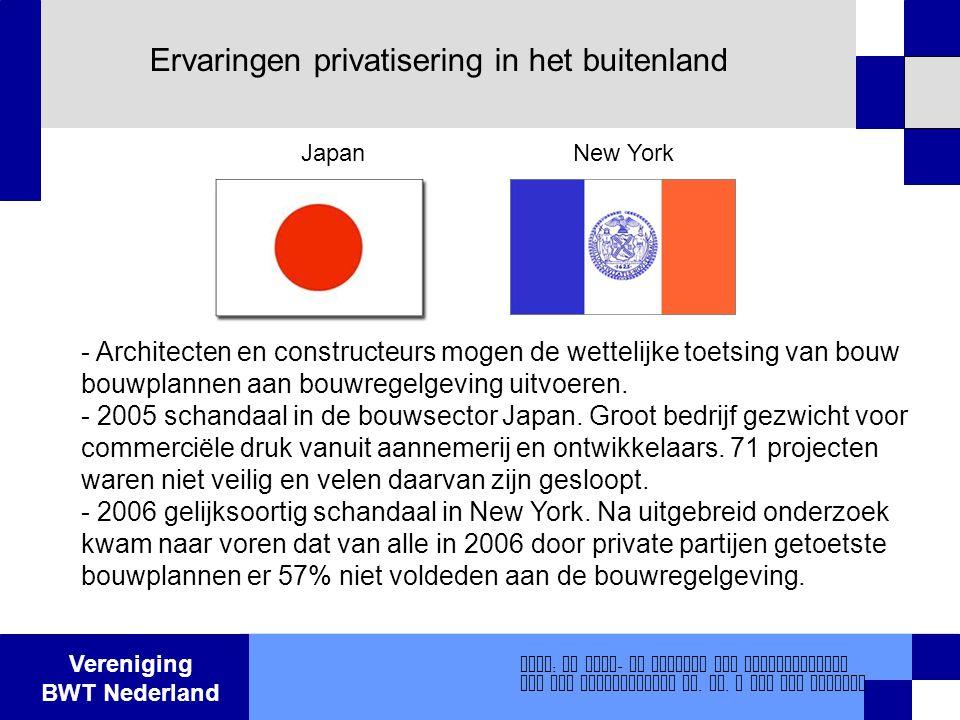 Vereniging BWT Nederland Ervaringen privatisering in het buitenland - Architecten en constructeurs mogen de wettelijke toetsing van bouw bouwplannen a