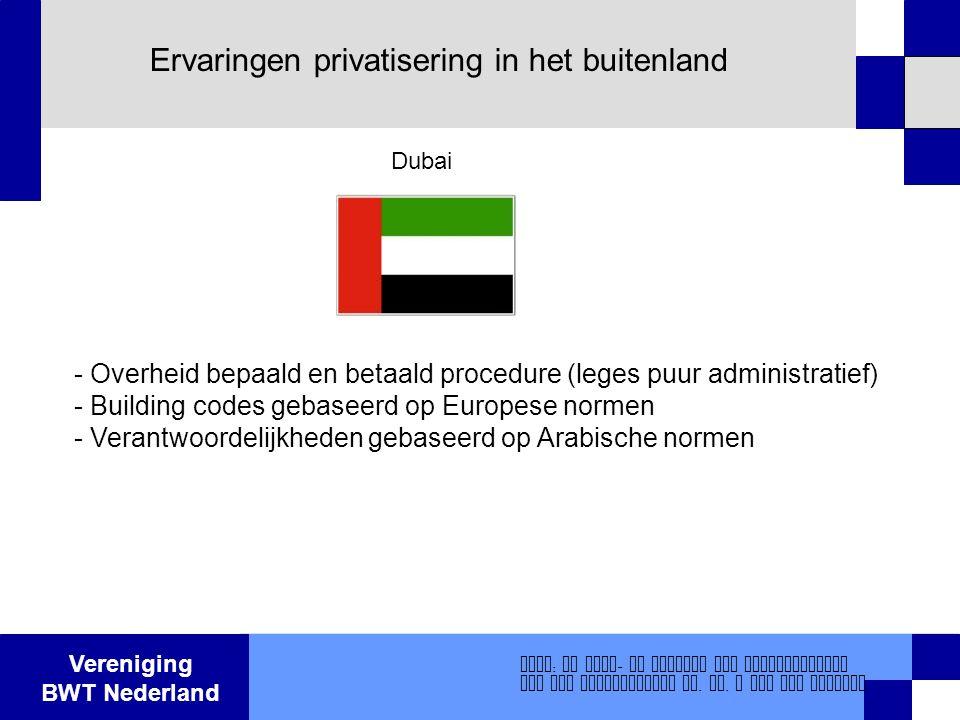 Vereniging BWT Nederland Ervaringen privatisering in het buitenland - Overheid bepaald en betaald procedure (leges puur administratief) - Building cod