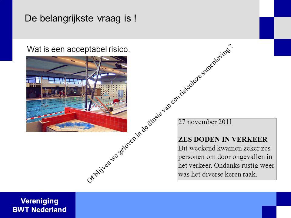 Vereniging BWT Nederland De belangrijkste vraag is ! Wat is een acceptabel risico. Of blijven we geloven in de illusie van een risicoloze samenleving