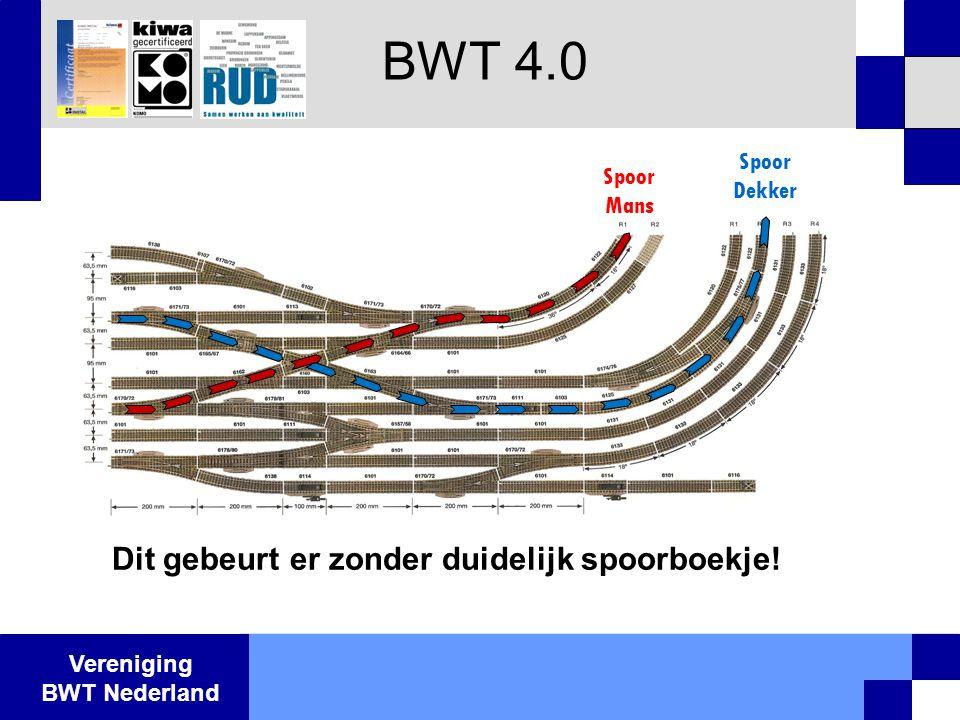 Vereniging BWT Nederland BWT 4.0 Spoor Mans Spoor Dekker Dit gebeurt er zonder duidelijk spoorboekje!