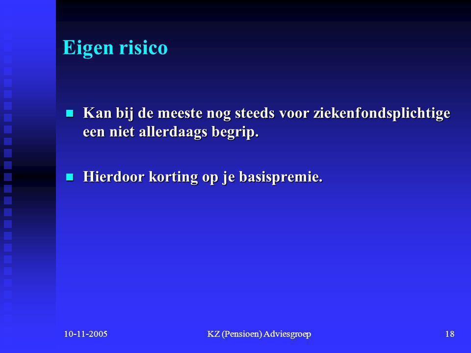 10-11-2005KZ (Pensioen) Adviesgroep17 Nog een moeilijk begrip  No-claim  De no-claim houdt in dat u maximaal 255 euro na afloop van het verzekerings