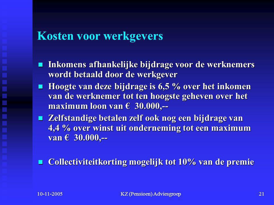 10-11-2005KZ (Pensioen) Adviesgroep20 Conclusie  Doordat er toch nog in voorwaarden en premies verschillen zullen zijn  Wordt het voor u weer erg moeilijk om een goede keuze te maken.