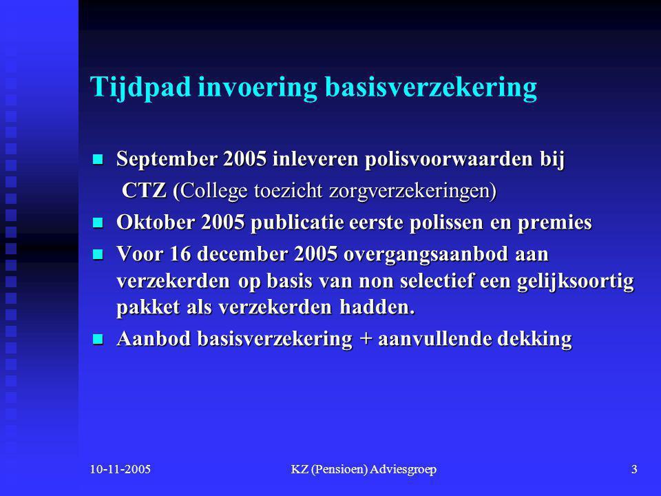 10-11-2005KZ (Pensioen) Adviesgroep2 4. Nieuwe zorgstelsel per 1-1-2006  Alle ingezetenen van Nederland komen in aanmerking voor het nieuwe zorgstels