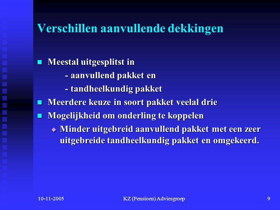 10-11-2005KZ (Pensioen) Adviesgroep8 Verschillen tussen Natura- en restitutiepolis NaturaRestitutie • Recht op zorg• Recht op vergoeding• Vrije artsen