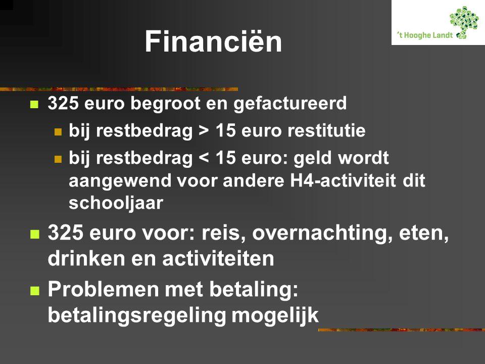 Financiën  325 euro begroot en gefactureerd  bij restbedrag > 15 euro restitutie  bij restbedrag < 15 euro: geld wordt aangewend voor andere H4-act