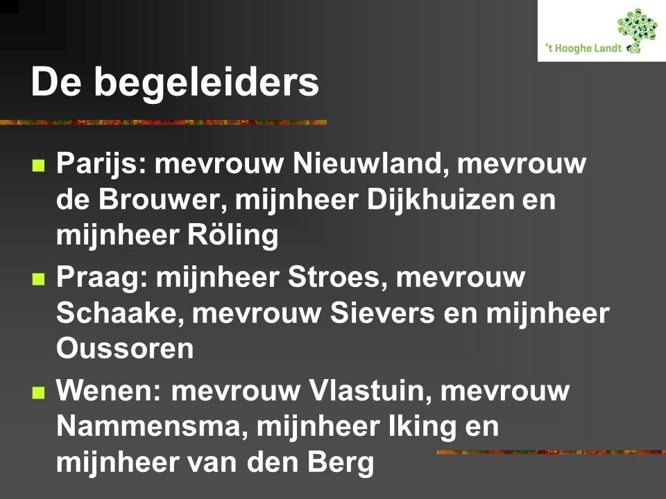 De begeleiders  Parijs: mevrouw Nieuwland, mevrouw de Brouwer, mijnheer Dijkhuizen en mijnheer Röling  Praag: mijnheer Stroes, mevrouw Schaake, mevrouw Sievers en mijnheer Oussoren  Wenen: mevrouw Vlastuin, mevrouw Nammensma, mijnheer Iking en mijnheer van den Berg